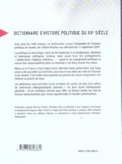 Dictionnaire D'Histoire Politique Du Xxe Siecle - 4ème de couverture - Format classique