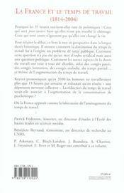 La France Et Le Temps De Travail (1814-2004) - 4ème de couverture - Format classique