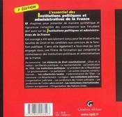 Essentiel Des Institutions Politiques Et Administratives De La France, 3eme Edition - 4ème de couverture - Format classique