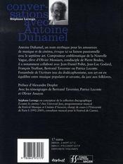 Conversations avec Antoine Duhamel - 4ème de couverture - Format classique