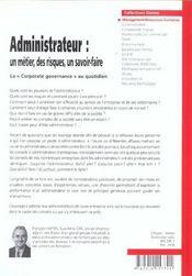 Administrateur : un métier, des risques, un savoir-faire - 4ème de couverture - Format classique