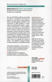 Dictionnaire d'analyse économique - 4ème de couverture - Format classique