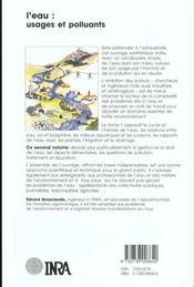 L'eau t.2 ; usages et polluants - 4ème de couverture - Format classique