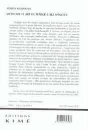 Methode Et Art De Penser Chez Spinoza - 4ème de couverture - Format classique