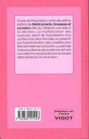 Medicaments, Grossesse Et Lactation 2ed - 4ème de couverture - Format classique