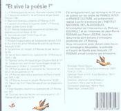 Et vive la poésie - 4ème de couverture - Format classique