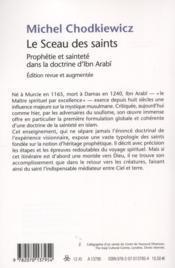 Le sceau des saints ; prophétie et sainteté dans la doctrine d'Ibn Arabî - 4ème de couverture - Format classique
