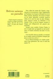 Brèves saisons au paradis - 4ème de couverture - Format classique