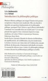 Introduction à la philosophie politique - 4ème de couverture - Format classique