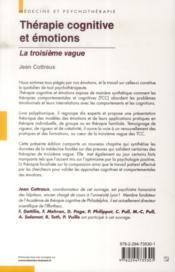 Thérapie cognitive et émotions ; la troisième vague (2e édition) - 4ème de couverture - Format classique
