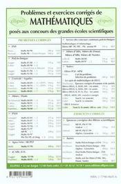 Problemes Corriges De Mathematiques Centrale/Supelec Tome 7 2000-2001 - 4ème de couverture - Format classique