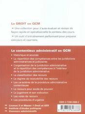 Le Contentieux Administratif En Qcm - 4ème de couverture - Format classique