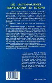 Les Nationalismes Identitaires En Europe ; Les Deux Faces De Janus - 4ème de couverture - Format classique