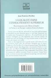 La Qualite Dans L'Enseignement Superieur(7)Reconnaissance Des Filieres D'Etudes - 4ème de couverture - Format classique