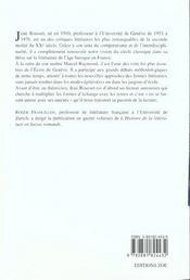 Jean Rousset Ou La Passion De La Lecture - 4ème de couverture - Format classique