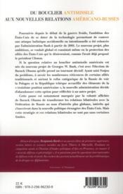 Du bouclier antimissile aux nouvelles relations américano-russes ; 2000-2011 - 4ème de couverture - Format classique