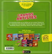 Grands artistes - 4ème de couverture - Format classique