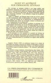 Sujet Et Alterite Sur Emmanuel Levinas - 4ème de couverture - Format classique