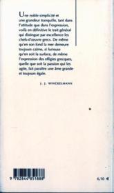 Pensees Sur L'Imitation Des Oeuvres Grecques... - 4ème de couverture - Format classique
