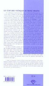 Ecritures Poetiques De Franz Hellens (Les)Colloque International Tenu A Clermont-Ferrand, 3 Et 4 Ma - 4ème de couverture - Format classique