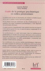 Guide de la pratique psychiatrique en milieu pénitentiaire - 4ème de couverture - Format classique