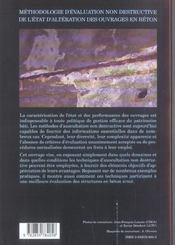 Methodologie d'evaluation non destructive de l'etat d'alteration ouvrages beton - 4ème de couverture - Format classique