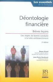 Deontologie Financiere. Breves Lecons. 2eme Edition - Intérieur - Format classique