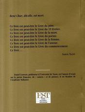 René char, dit-elle, est mort - 4ème de couverture - Format classique