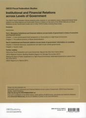 Institutional and financial relations accros levels of gouvernment - 4ème de couverture - Format classique