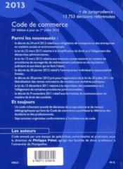 Code de commerce 2013 (25e édition) - 4ème de couverture - Format classique