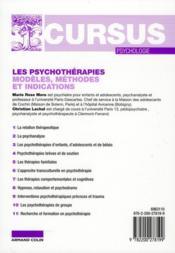 Les psychothérapies ; modèles, méthodes et indications (2e édition) - 4ème de couverture - Format classique