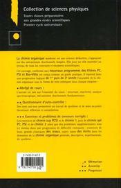 Exercices Et Problemes De Chimie Organique - 4ème de couverture - Format classique