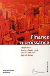 Finance Et Croissance ; Chroniques Economiques 2006 - Intérieur - Format classique