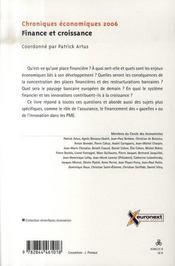 Finance Et Croissance ; Chroniques Economiques 2006 - 4ème de couverture - Format classique