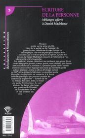 Ecriture De La Personne. Melanges Offerts A Daniel Madelenat - 4ème de couverture - Format classique