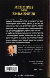 Mémoires d'un embaumeur - 4ème de couverture - Format classique