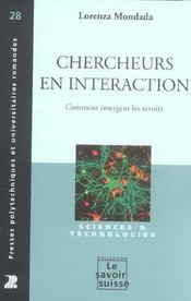 Chercheurs En Interaction : Comment Emergent Les Savoirs 28 - Intérieur - Format classique