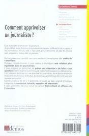 Comment apprivoiser un journaliste - 4ème de couverture - Format classique