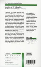 Les sciences de l'éducation - 4ème de couverture - Format classique