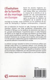L'évolution de la famille et du mariage en Europe - 4ème de couverture - Format classique