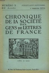 CHRONIQUE DE LA SOCIETE DES GENS DE LETTRES DE FRANCE N°3, 89e ANNEE ( 3e TRIMESTRE 1954) - Couverture - Format classique