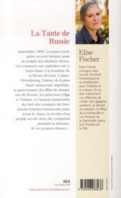 La tante de Russie - 4ème de couverture - Format classique