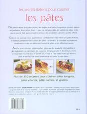 Les Secrets Italiens Pour Cuisiner Les Pates - 4ème de couverture - Format classique