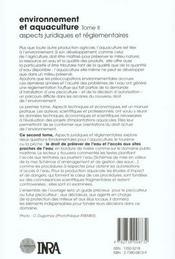 Environnement et aquaculture t.2 ; aspects juridiques et réglementaires - 4ème de couverture - Format classique