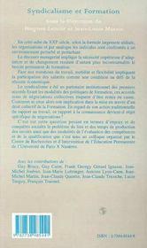 Syndicalisme Et Formation - 4ème de couverture - Format classique