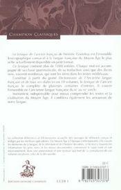 Lexique De L'Ancien Francais - 4ème de couverture - Format classique