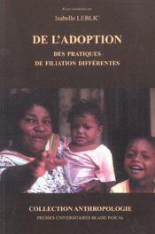 De L'Adoption. Des Pratiques De Filiation Differentes - Intérieur - Format classique