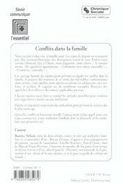 Conflits Dans La Famille - 4ème de couverture - Format classique
