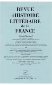 REVUE D'HISTOIRE LITTERAIRE DE LA FRANCE N.2012/3 ; un autre Marivaux ? - Couverture - Format classique