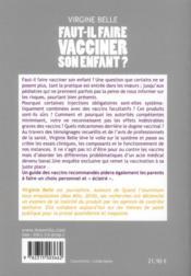 Faut-il faire vacciner son enfant ? - 4ème de couverture - Format classique